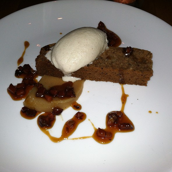 Smoked date cake with bacon marmalade and banana ice cream