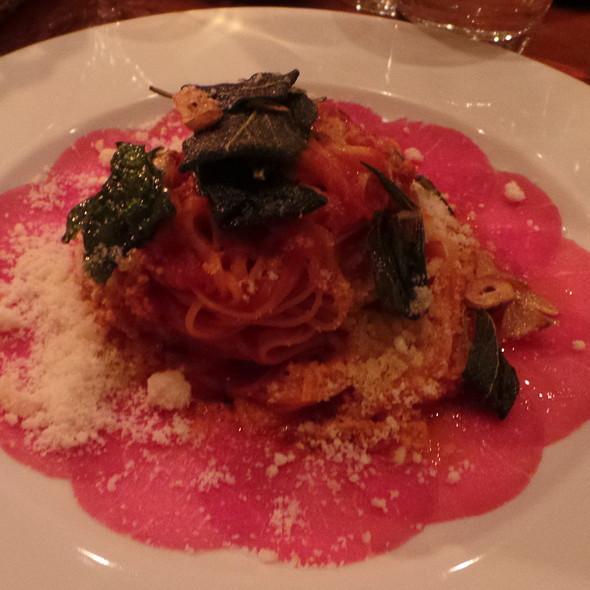 Tagliolini with Carpaccio, Tomato Sauce and Herbs @ La Castagnas