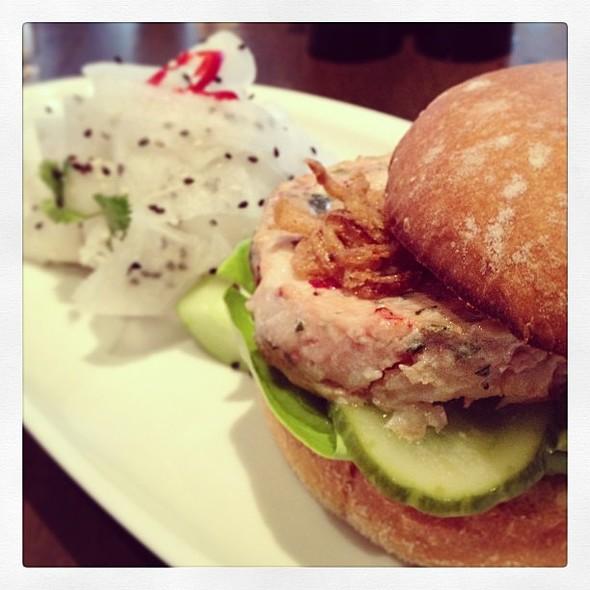 Luma Shrimp + Lobster Burger with Pickled Daikon Salad @ Luma