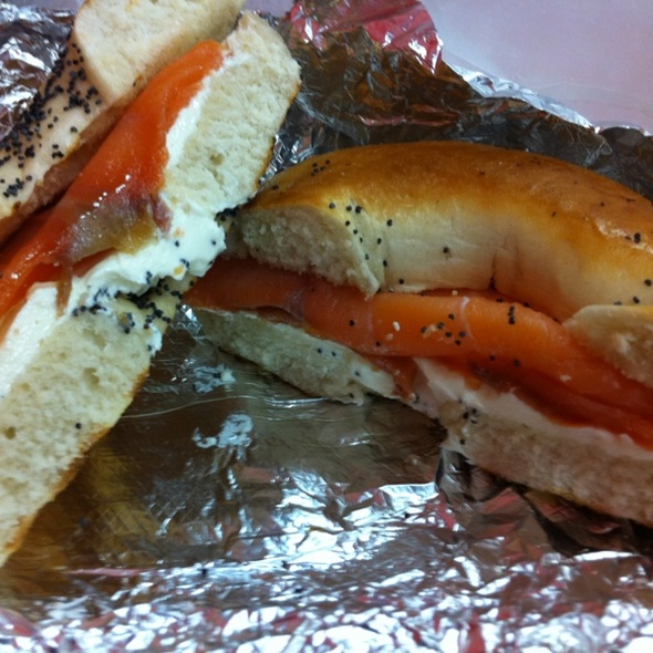 Bagel with Lox and Cream Cheese @ One Minute Deli