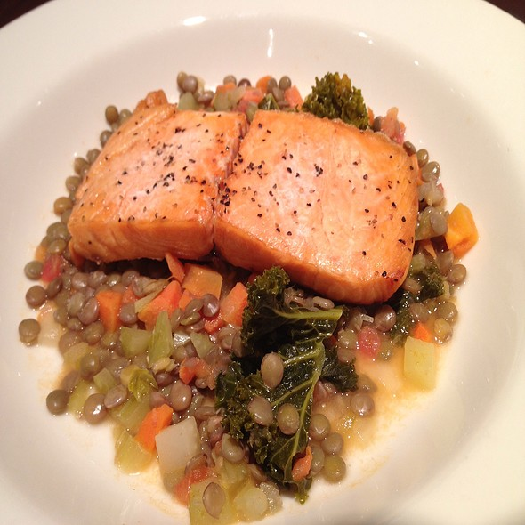 Salmon With Lentils And Kale @ La Madeleine