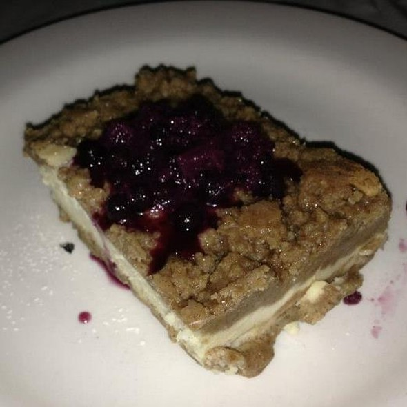 Cinnamon Streusel Cheesecake With Blueberry Compote - The York, Syracuse, NY