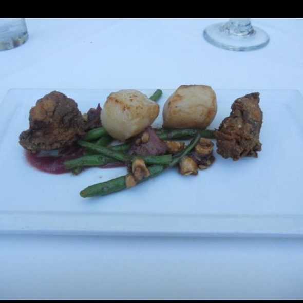 Caramelized Scallops Rhubarb Haricot Vert And Chicken Fried Oysters - The Foundry On Melrose, Los Angeles, CA
