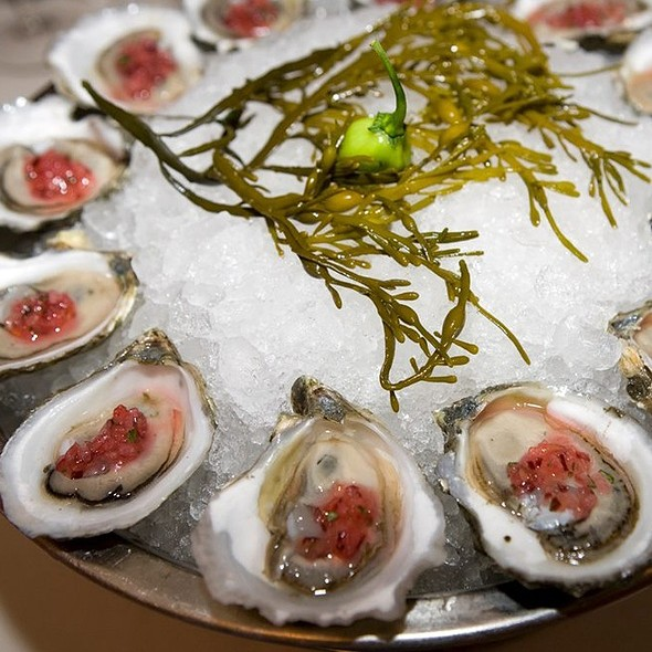 Island Creek Oysters With Michigan Plum & Habanero Salsa - Shaw's Crab House - Chicago, Chicago, IL