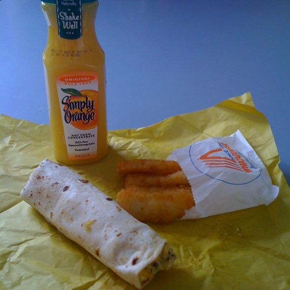 Sausage and Cheese Taquito with Hashbrowns and Orange Juice @ Whataburger