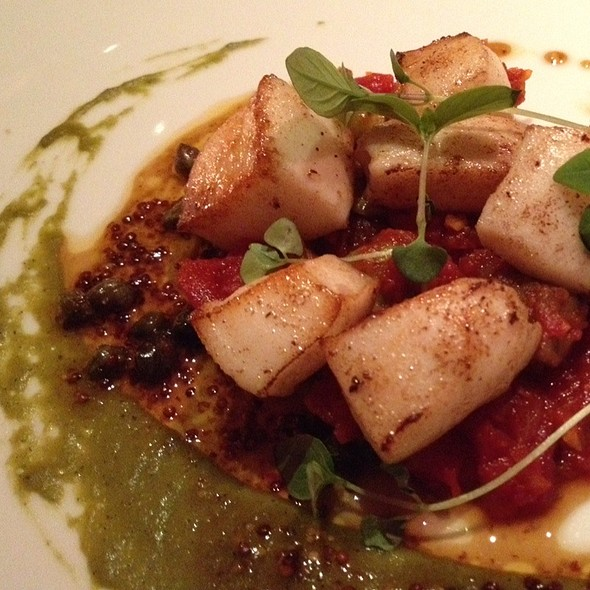 Humboldt Squid With Moroccan Sausage, Poblano Peppers And Olives - Diva at the Met, Vancouver, BC