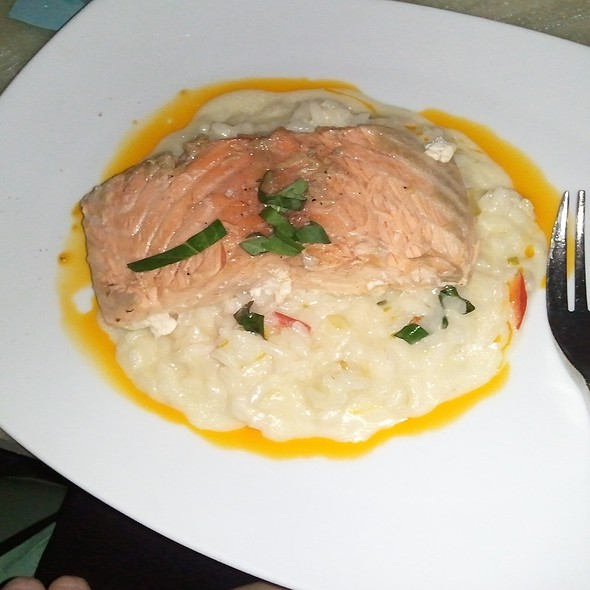 Slow Baked Salmon with Meyer Lemon Risotto and Chili Oil @ Reef