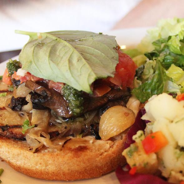 portobello sausage burger @ Native Foods