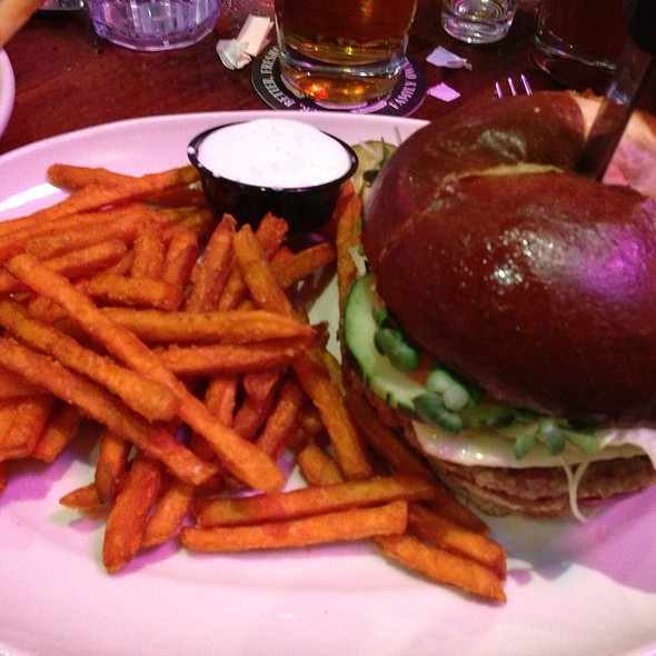 veggie burger with sweet potato fries - Ram Restaurant & Brewery - Rosemont, Rosemont, IL