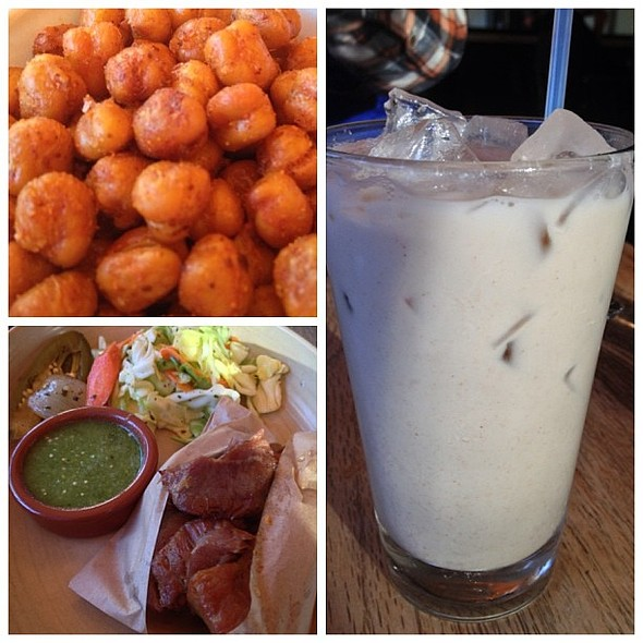 Fried chickpeas, carnitas, and the best horchata around.