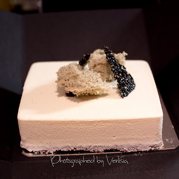 White coffee, chocolate, black sesame Cube Cake