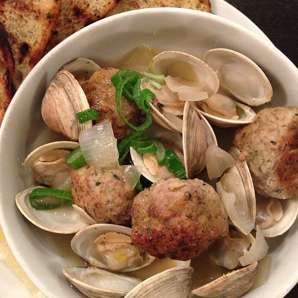 Local Clams, Meatballs, Ginger Broth