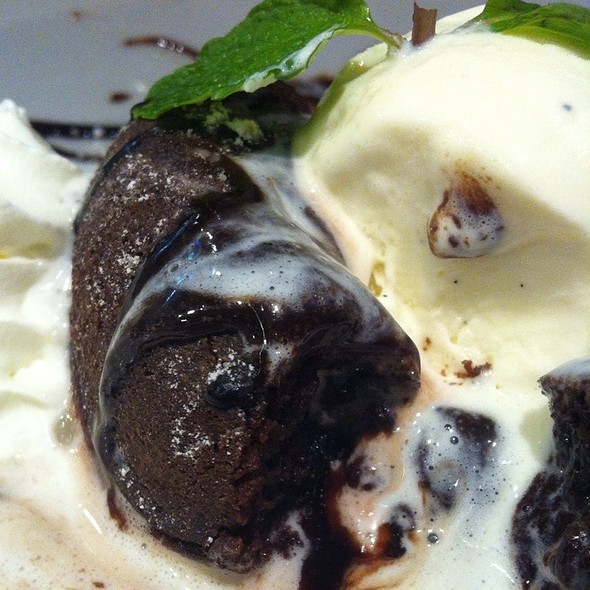 Warm chocolate cake with vanilla ice cream @ Hippopotamus Restaurant Grill