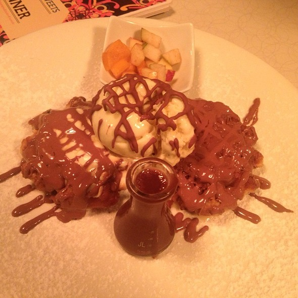 Waffle With Icecream Chocolate Sauce And Fruit @ Max Brenner
