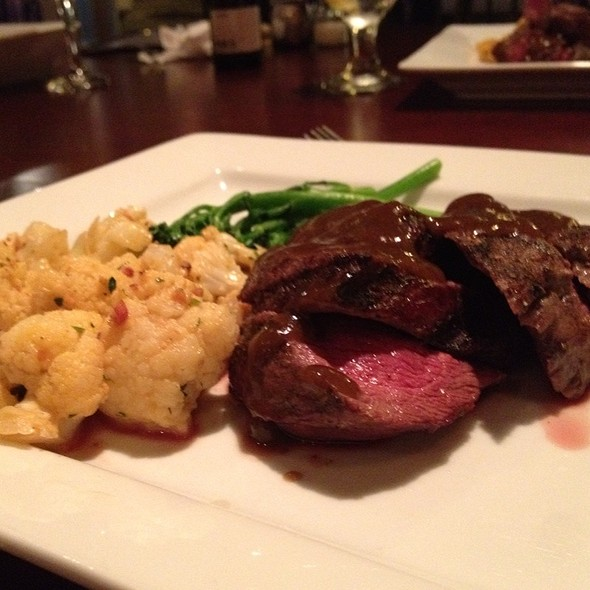 Grilled Venison With Cauliflower Gratin, Broccolini, And Peppered Marsala Sauce - Below The Radar, Huntsville, AL