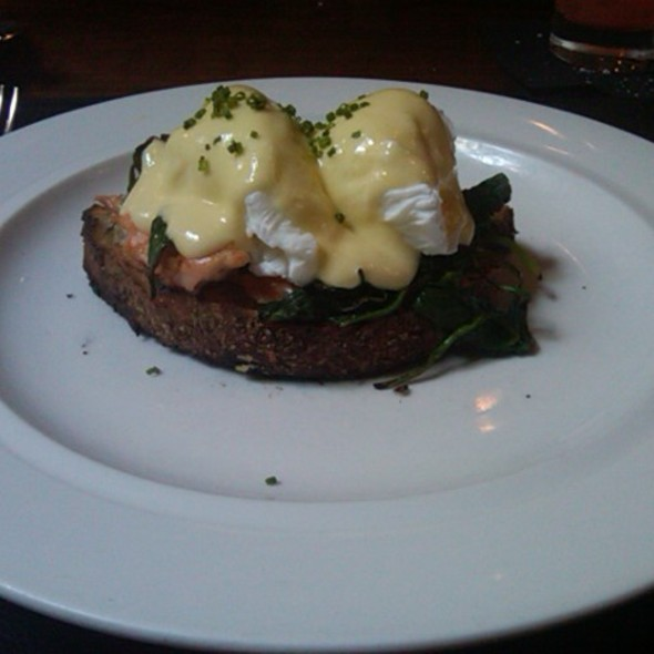 Tea-smoked salmon, spinach and poached eggs on toasted sourdough with yuzu hollandaise @ Public Restaurant