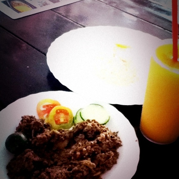 Keema Eggplant With Butter Rice & Mango Juice