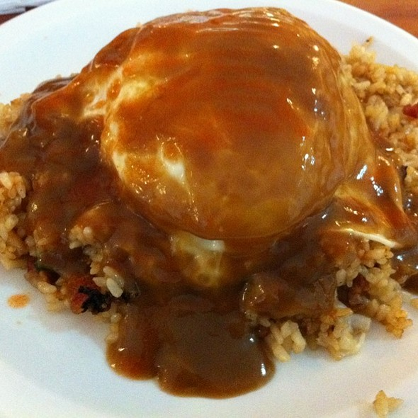 Loco Moco with Fried Rice and extra Tabasco all over