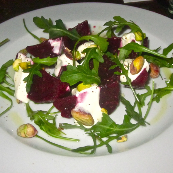 Citrus Marinated Beets, Crème Fraiche, & Pistachios @ Little Otik