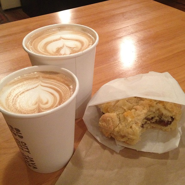 Cafe Breve And Cheddar Sausage Biscuit @ Old City Java