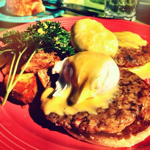 Sausage Eggs Benedict - Chez Zee, Austin, TX