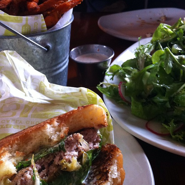 Turkey Burger, Sweet Potato Fries, Lamb Burger, And The Market Salad
