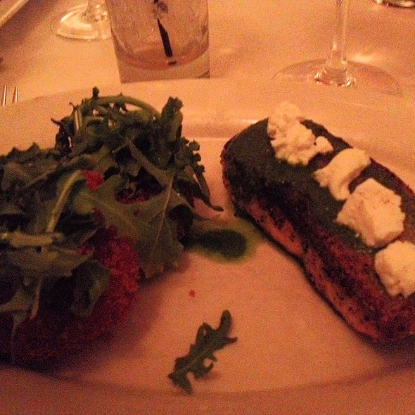 Grilled Salmon With Beet And Goat Cheese Risotto Cakes