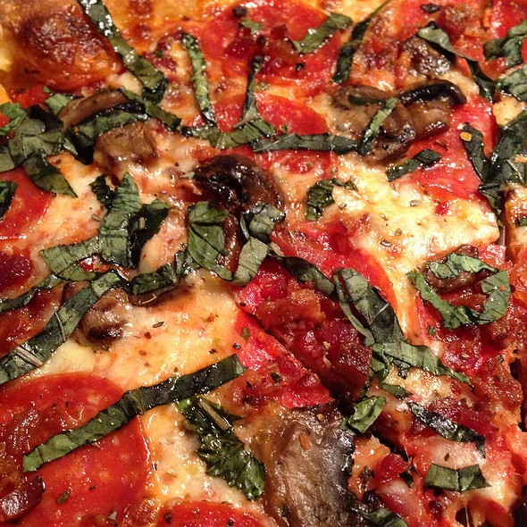 Pepperoni Bacon Mushroom Basil Pizza - New River Pizza & Grill, Fort Lauderdale, FL