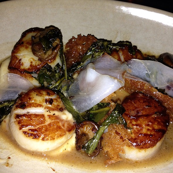 Diver Scallops With Picked Mushroom, Dandelion Greens, Brown Butter Jus, Fried Bread @ Whisknladle Bistro & Bar