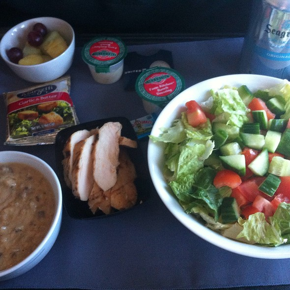 Mushroom Soup And Grilled Chicken Salad @ United Airlines First Class