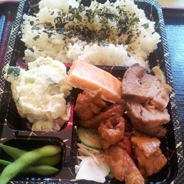 Sampler Bento! Salmon, Yaki Buta, Teri Chicken.