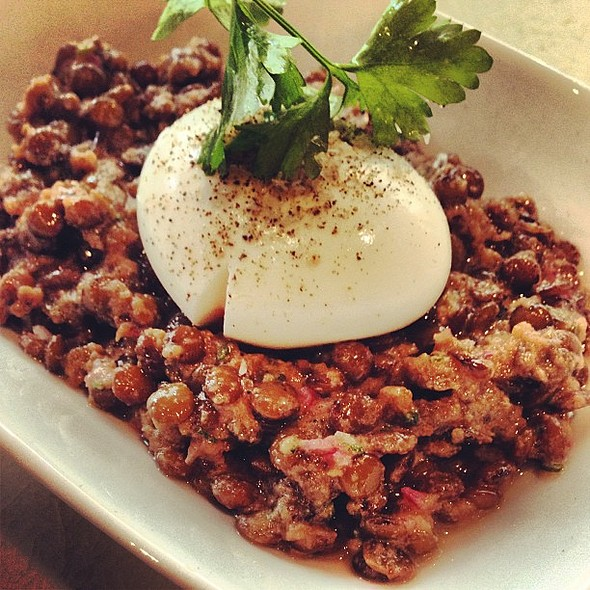 Lentil salad with poached egg at . A must see for the great music and cool atmosphere. @ Mama Shelter Restaurant