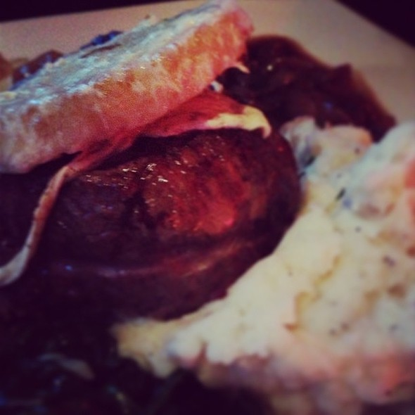 French Onion Filet Mignon with croton and melted cheeses. @ SoHo Bar And Grill