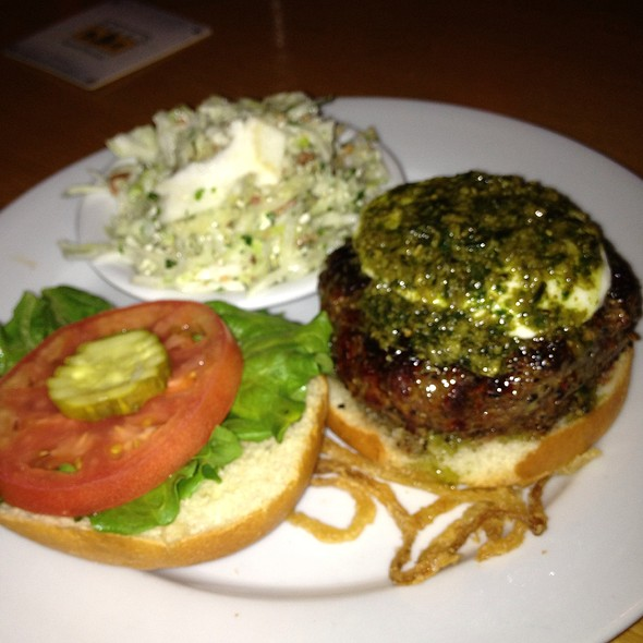 Fresh Mozzerella And Pesto Burger  @ Poe's Tavern