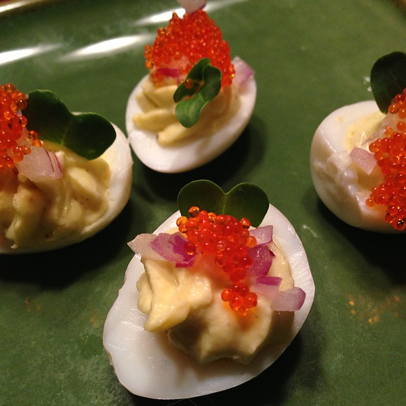 Wasabi Deviled Quail Eggs with Tobiko