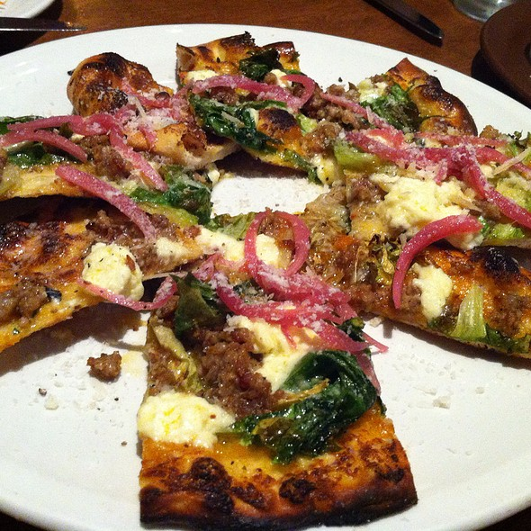 Flatbread of Spicy Fennel Sausage, Braised Greens And Parmesan - nopa - San Francisco, San Francisco, CA