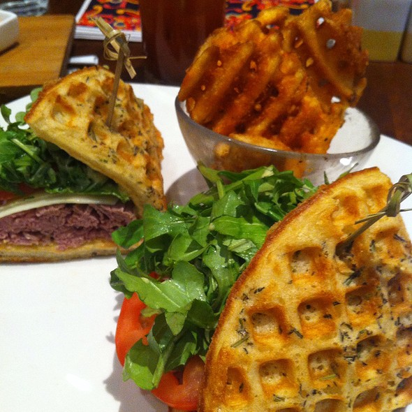Rosemary Infused Waffle Roast Beef Sandwich @ Max Brenner Forum Shops