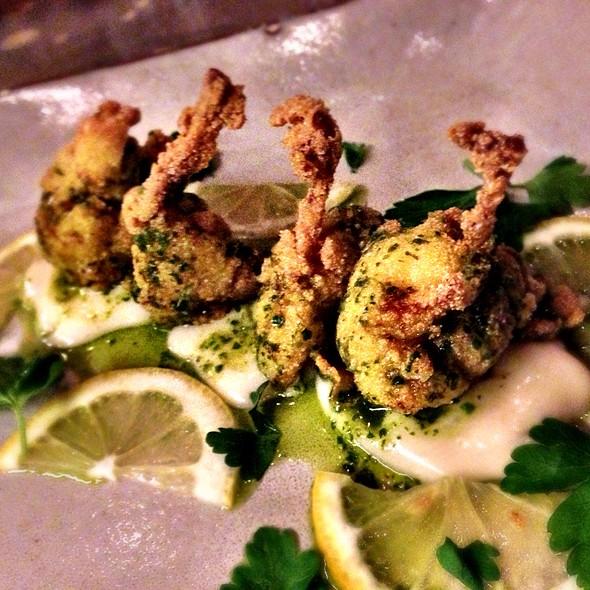 Crispy Florida Frog Legs Potato Purée, Salsa Verde