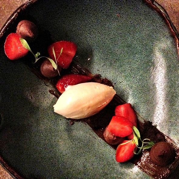 Local Strawberries Caribe Chocolate Mousse, Pedro Ximénez Ice Cream