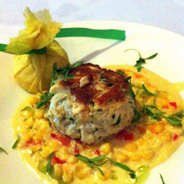 Crab Cake with Sweet Corn Succotash - Dakota's Steakhouse, Dallas, TX