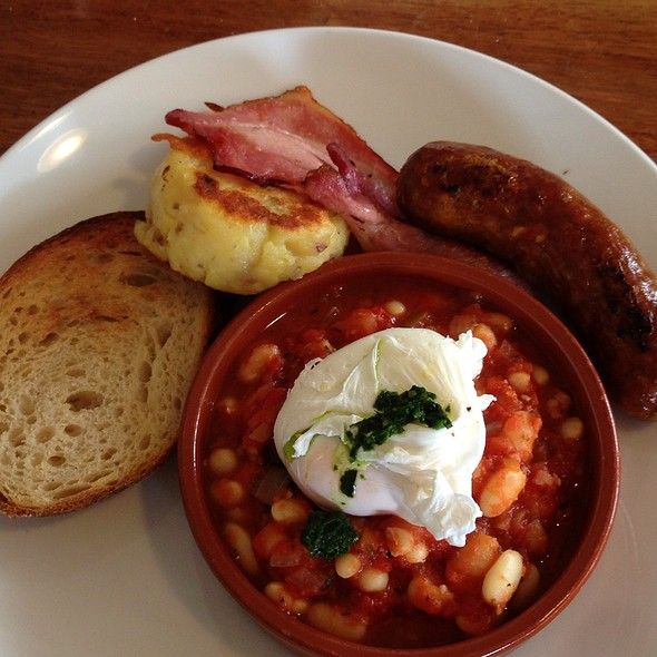 Housemade Baked Beans With Poached Eggs, Chorizo, Fetta And Chilli Jam On Turkish Bread @ The Fridge