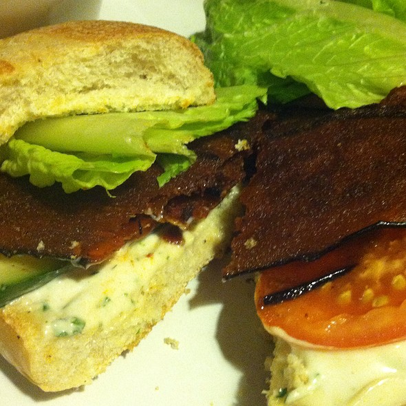 "Eggplant ""Bacon"" Sandwich @ Opus World Bistro International Cuisine"