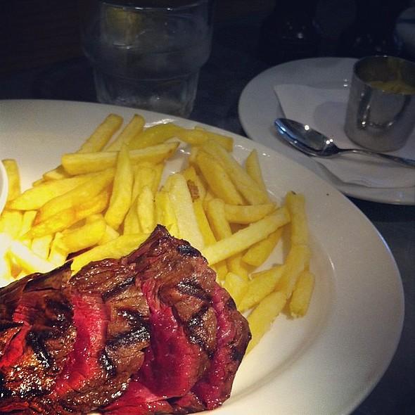 Onglet steak rare, frites, iced tap water, dijon mustard @ Quod Brasserie & Bar