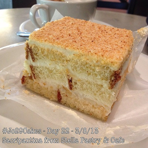 - from Stella Pastry in North Beach - multilayered cake made with a vanilla sponge cake, zabaione (a delicate custard made with egg yolks, sweet butter, marsala and sherry wine) cream, and rum. I share this with my Inang who is in the Philippines celebrat @ Stella Pastry and Cafe