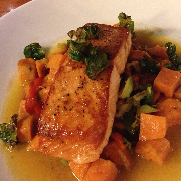 Maple Glazed Salmon With Sweet Potatoes & Brussel Sorouts