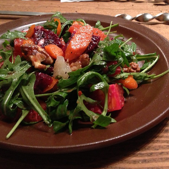 Orange And Grapefruit Salad With Shaved Carrots, Wild Arugula, And Walnuts