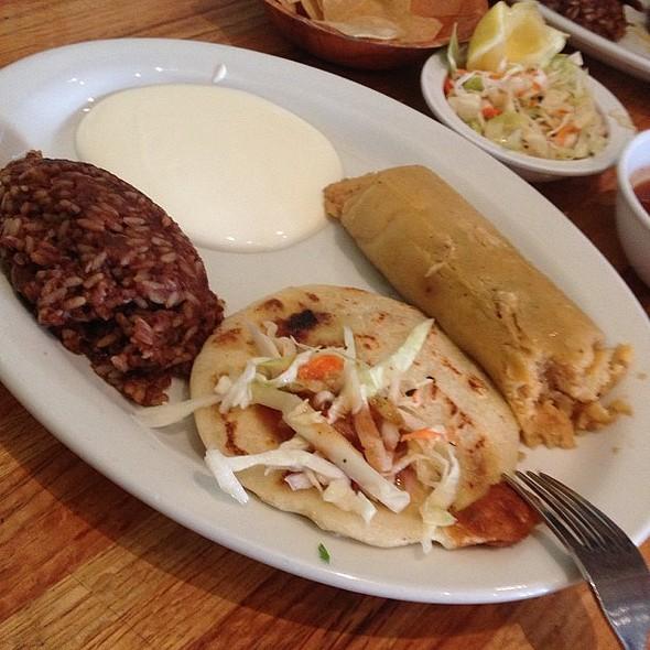 Tamal, revuelta , casamiento, and crema. Just cuz. @kung_food_panda and i were hongree. @ Balompie Cafe #3