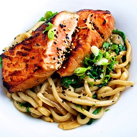 Soy Ginger-Glazed Salmon With Udon Noodles