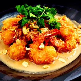 Crispy Coconut Shrimp With Thai Peanut Sauce