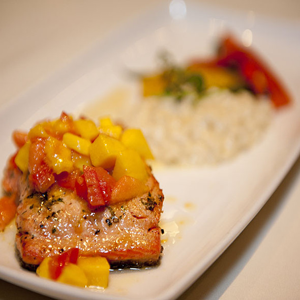 Grilled Atlantic Salmon with Mango Salsa and risotto - Trattoria Timone, Oakville, ON